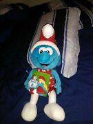 Holiday Christmas Smurf Large Plush W/ Papa And Smurfette Puppets Nwt 2010