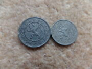 Old Collection Belgium/german Occupation Ww I   2x Coins 1916 -  19mm,21mm