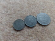 Old Collection Belgium/german Occupation Ww I 3x Coins 1916 - 19mm,21mm,25mm