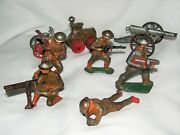 Vintage 8 Piece Lead Cast Toy Soldiers And Equipment Set Cannon Truck Sold As Is