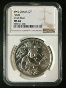 1992 1 Oz China 10y Silver Panda Coin Ngc Ms 68 Small Date