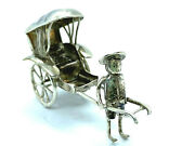 Antique Chinese Export Silver Novelty Rickshaw Figurine With Moving Wheels