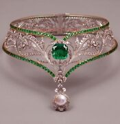 Antique Rose Cut Diamond 8.25ct Wedding Emerald Pearl Choker And Necklace Jewelry