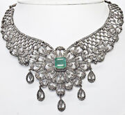 16.96ct Antique Rose Cut Diamond Silver Emerald Necklace Xmas Newyear Party Wear