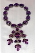 8.62ct Antique Rose Cut Diamond Sterling Silver 925 Engagement Amethyst Necklace