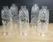 Vintage Hurricane Lamp Chandelier Shades Etched And Cut Crystal 9 Tall