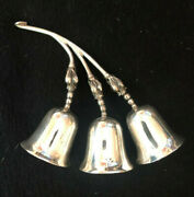 Triple Blossom Mid-century Sterling Silver Table Bell By F. Ramirez Mexico