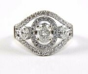 Natural Oval Diamond Solitaire Double Halo Ladyand039s Ring 14k White Gold 1.76ct