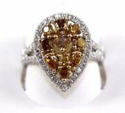 Natural Canary Yellow Diamond Mix Cut Pear Cluster Ring 14k White Gold 1.94ct