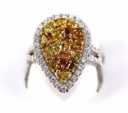 Natural Canary Yellow Diamond Mix Cut Cluster Pear Ring 14k White Gold 2.34ct
