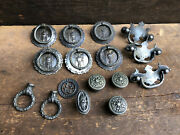 Qty=15 Pc Old Vintage Antique Ornate Silver Plate/nickel Drop Ring Pulls Marks