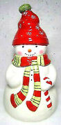 Christmas Snowman Red White Ceramic Cookie Jar Retired Vintage Holiday Gift Big