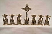 + Nice 7 Piece Altar Set Crucifix And 6 Candlesticks + Chalice Co.