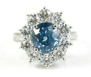Natural Round Blue Zircon And Diamond Halo Solitaire Ring 14k White Gold 5.33ct