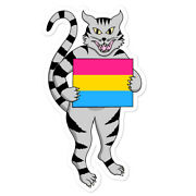 Pansexual Flag Sticker Cat Kitty Pride Lgbt Nonbinary Pan Sexual Queer Lgbtia