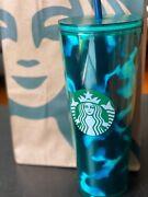 Starbucks Blue Marble Tumbler Swirl Tortoise 24oz Cold Cup W/straw And Lid New