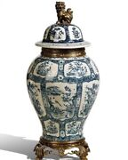 45cm European Style Chinoiserie Vase Blue And White Chinese Ginger Jar