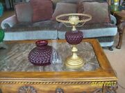 Ruby Cranberry Antique Red Diamond Quilted Gone With The Wind Parlor Lamp