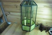 Vintage Lamp Ceiling Copper Stained Glass Lead Fine Cuts Green Clear Cloth Wire