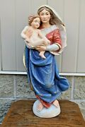 + Nice Older Hand Carved Wood Statue Of Mary, Madonna With Child + 24 Cu922