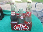 The History Of Dr Pepper Soda Bottle Collection W/ Carrier - 6 Pack Of Peppers