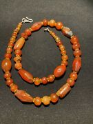 Old Beads Himalayan Old Ancient Antique Carnelian Agate Mala Necklace From Tibet