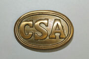 Antique Style Military Civil War Confederate Csa Belt Buckle Oval Solid Brass 1