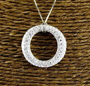 Natural Round Diamond O Shape Cluster Necklace Pendant 18k White Gold 2.52ct