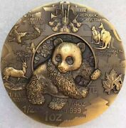 China 80mm Panda Medal The 10th Anniversary Of Shanghai Gold Coin Company Medal
