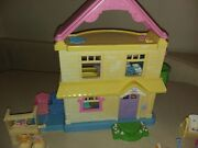 Vintage Fisher Price Loving Family Mansion Twin Time With Dolls And Furnitureandnbsp