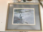 Charles Beckendorf Vintage Framed Lady Fishing Beautifully Framed And Matted.