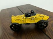 Vintage Cast Iron Slotted Hood Race Car Yellow Paint Look @ Pics 4 Condition