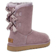 Ugg Short Bailey Bow Ii Ederberry Water-resistant Suede Boots Size 7 Womens