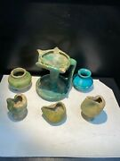 Old Antique Ancient Islamic Period Glazed Pottery Oil Lamp And Pots 15th C