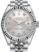 Womenand039s 26mm Rolex Datejust Ss Jubilee Rn Metallic Silver Diamond Dial Fluted