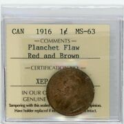 1916 Canada Large Cent - Iccs Ms-63 Rb With Lamination Error