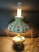 Vintage 24 Gone With The Wind Swag Lamp Green/white With Red Roses