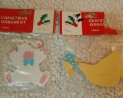Vintage Painted Metal Bear And Duck Christmas Ornament New