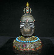 13.6 Old Tibet Crystal Copper Silver Inlay Turquoise Buddha Skull Head Skeleton