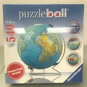 Puzzleball World Globe Sphere Ravensburger 3d Puzzle 540 Pieces W/display Stand