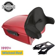 Wicked Red King Tour Pack Black Hinges For Harley Davidson Touring 1997+