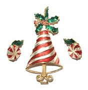 Vintage Mylu Candy Cane Striped Christmas Tree Pin And Earrings Set Signed