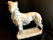 Herend Porcelain Large White Russian Greyhound Figurine Artist Signed 5358