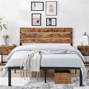 Full/queen Size Metal Platform Bed Frame W/wooden Headboard Rustic Country Style