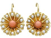 Coral And Seed Pearl 21 Ct Yellow Gold Earrings - Antique Circa 1890