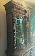 Lovely Antique German Curio/bookcase Cabinet With Green Leaded Stained Glass