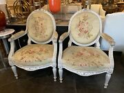 Pair Antique Louis Xv Aubusson Tapestry Floral Upholstered Fauteuils Arm Chairs