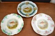 Collection Vintage Bavaria Fish Plates Z.s.and C Mixed Set Of 3 Floral Dm 8.5 9