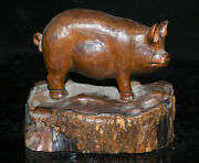 6 Old Chinese Boxwood Wood Hand Carved Feng Shui Animal Pig Lucky Wealth Statue