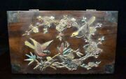 12.4 Antique China Huanghuali Wood Inlay Shell Dynasty Bamboo Birds Jewelry Box